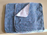 Blue Chevron flannel and Birdseye cotton Unpaper towels or Napkins