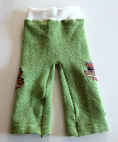 Medium Green Tree Recycled Wool Longies with Interlock Waistband
