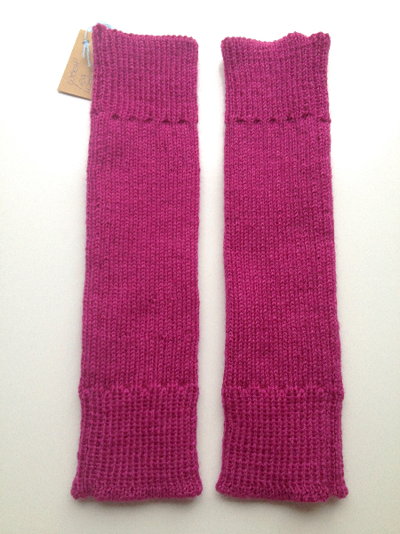 Fuchsia Ribbed Knit Wool Leg Warmers
