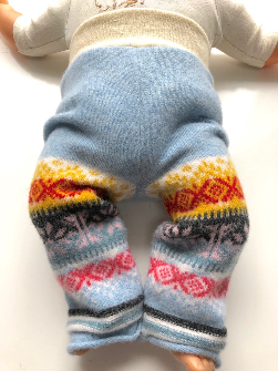 0-6+ Months - Blue Patterned Upcycled Merino Longies - Small
