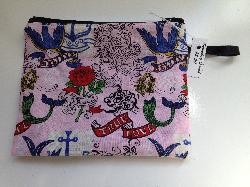 Pink Tattoo Zipper Pouch / Snack Bag