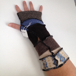 Blue, Brown and Cream Recycled Wool Arm Warmers Fingerless Gloves
