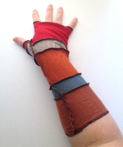 Earth and Fire Recycled Wool Arm Warmers Fingerless Gloves