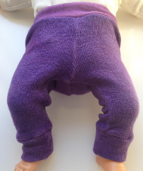 0-3 months - Purple Diaper Cover Wool Longies Pants - Newborn or Preemie