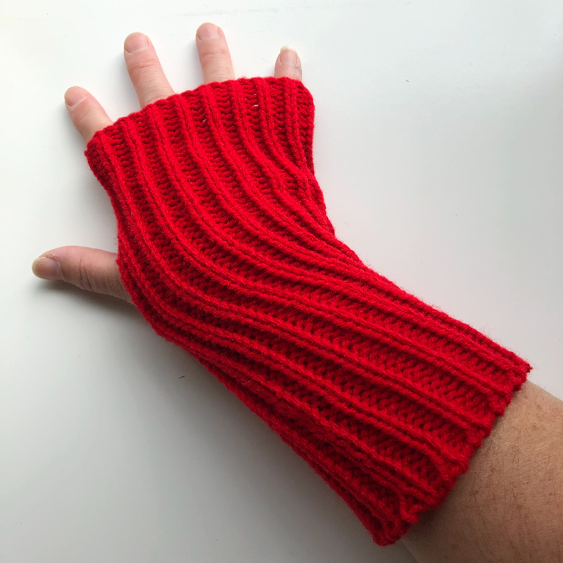 Red Acrylic Arm Warmers Fingerless Gloves
