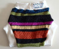 Large Bright Striped Recycled Wool Soaker with Interlock