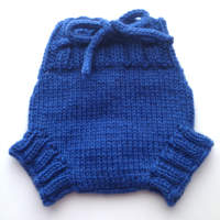 0-3 - X-Small Blue Hand Knit Wool Soaker, Diaper Cover and Photography Prop