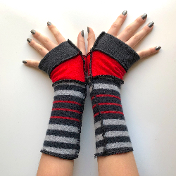 Black, Red and Grey Striped Fingerless Gloves Armwarmers