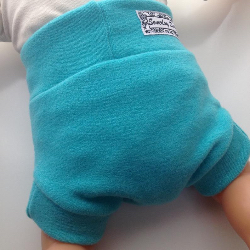 3-6 Months - Hand dyed Turquoise Wool Interlock Diaper Soaker - Small