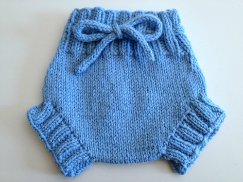 0-3+ months -  XSmall light blue Hand Knit Wool Soaker, Diaper Cover and Photography Prop