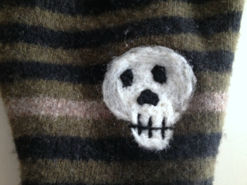 Small Skull Recycled Wool Longies or Capris with Interlock
