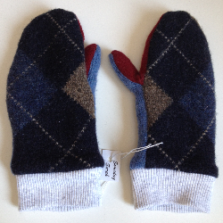 Argyle Recycled Wool and Cotton Children's Mittens
