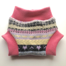 6-12+ months - Pink and Purple Patterned Diaper Cover Wool Soaker - Recycled wool and interlock wool
