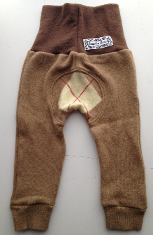 3-12 months - Recycled wool Longies - Recycled Brown with Argyle Wool Jecaloones - Mini