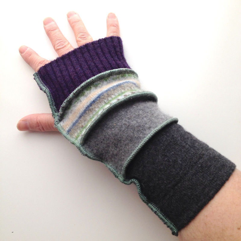 Purple and Grey Upcycled Arm Warmers / Fingerless Gloves