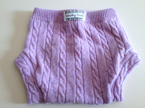 Large Purple Cable Recycled Wool Soaker