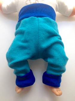 6-12+ months - Diaper Cover Wool Longies - Teal with Blue Recycled Merino Longies - Medium