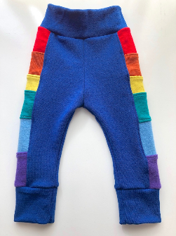 6-12+ months - Blue Rainbow Wool Longies - Medium
