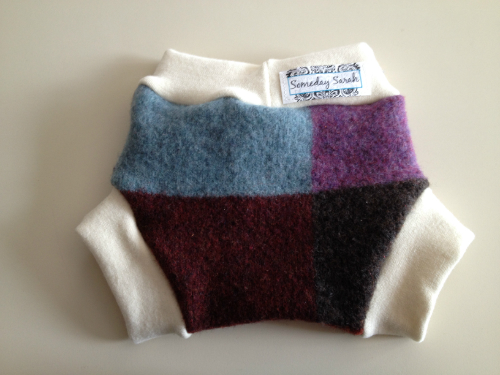 Medium Blue, Purple and Maroon Recycled Wool Soaker
