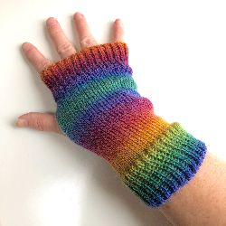 Rainbow Wool Knit Fingerless Gloves