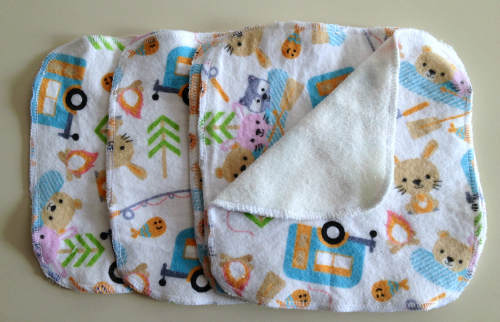 Camping Flannel and Bamboo Terry Loop Cloth Wipes