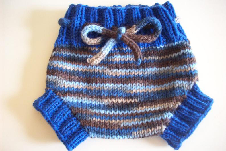 0-3+ months - Hand Knit Newborn Blue Wool Diaper Soaker or Shorties