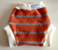 Large Orange Striped Recycled Wool Soakers