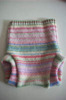 Small / Newborn Recycled Pink and Green Striped Wool Soaker
