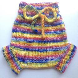 6-12+ months - Wool Diaper Cover  - Hand dyed Rainbow Medium Baby Handknit Wool Soaker - medium