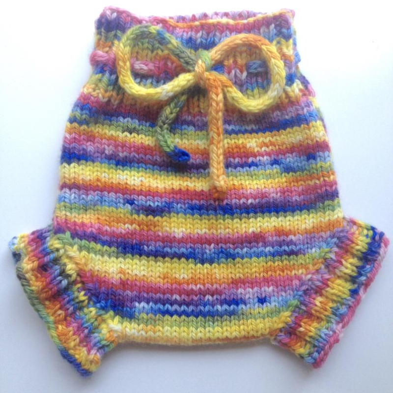 6-12+ months - Wool Diaper Cover  - Hand dyed Rainbow Medium Baby Handknit Wool Soaker - medium