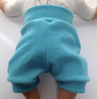 6- 18+ months - Diaper Cover Wool Shorties - Teal / Turquoise Wool Interlock Shorts - medium