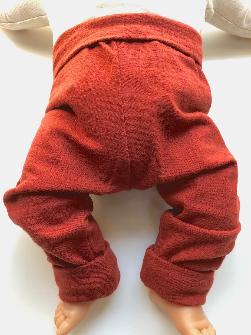 6-12+ months - Light Weight Rust Orange Wool Jersey Leggings Longies