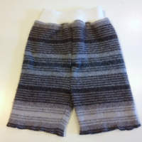 Large Grey and Brown striped Recycled wool Shorties