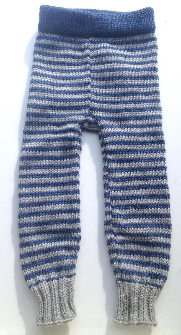 6-18 months - Medium-Large Knit Wool Longies - Blue and Grey Stripes Wool Baby Pants