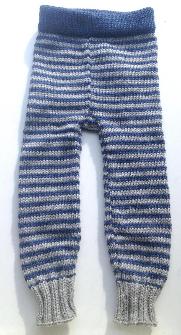 6-18 months - Medium-Large Knit Wool Longies - Blue and Grey Stripes Wool Baby Pants