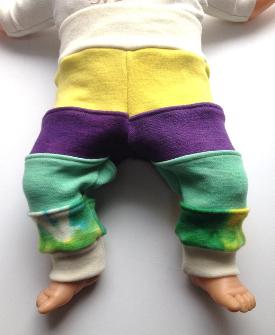 0-3 months - Pieced Harem Style Wool Interlock Longies - Newborn Small wool diaper cover.