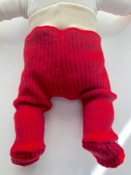0-3+ months - Upcycled Pirate Red Longies Footies - Newborn / XS