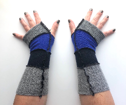 Grey, Cobalt Blue and Navy Fingerless Gloves Arm Warmers