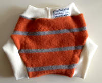 Medium-Large Orange Striped Recycled Wool Soakers