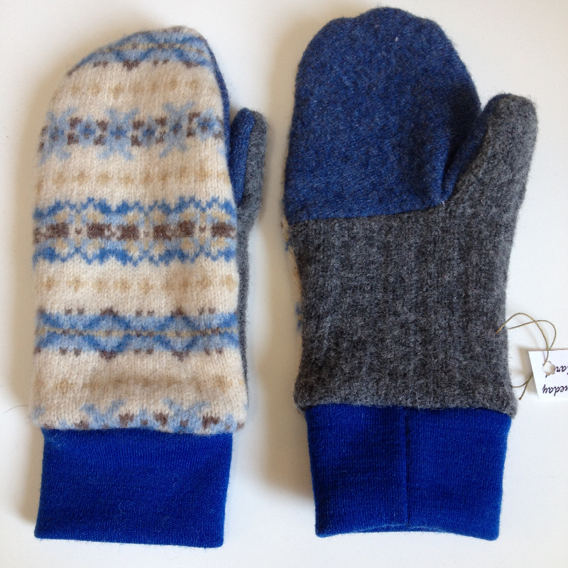 Blue Patterned Recycled Lambswool and New Wool Jersey Children's Mittens