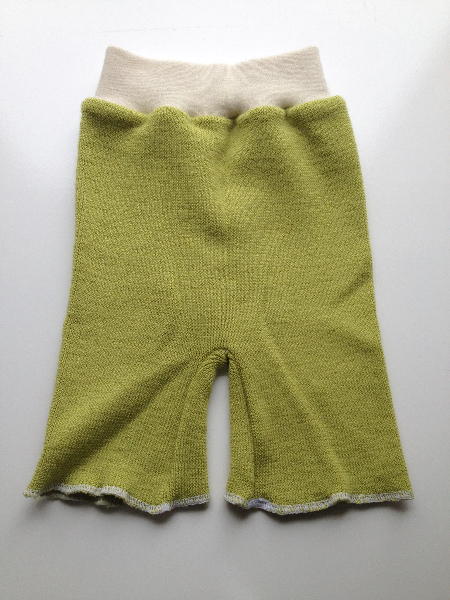 6-12 months - Green Wool Upcycled Shorties - Medium