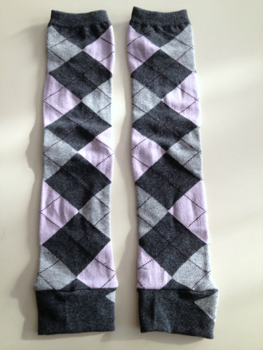 Pink Argyle Up-cycled Leg or Arm Warmers