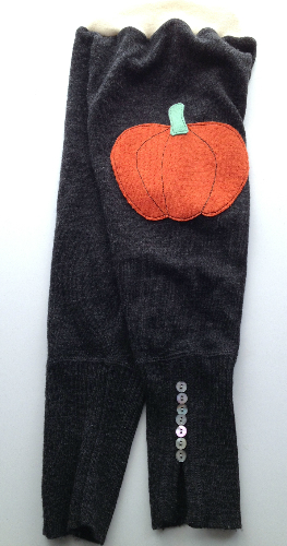 Sale - Large Charcoal Pumpkin Longies with Interlock