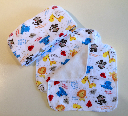 Zoo Animal Cotton Knit and Bamboo Velour Cloth Wipes