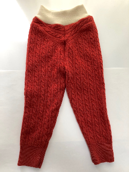18-24+ months - Recycled Orange Rust Cabled Wool Longies - XL