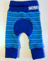 Blue Stripes Wool Interlock Jecaloones - Newborn - 0-6 months