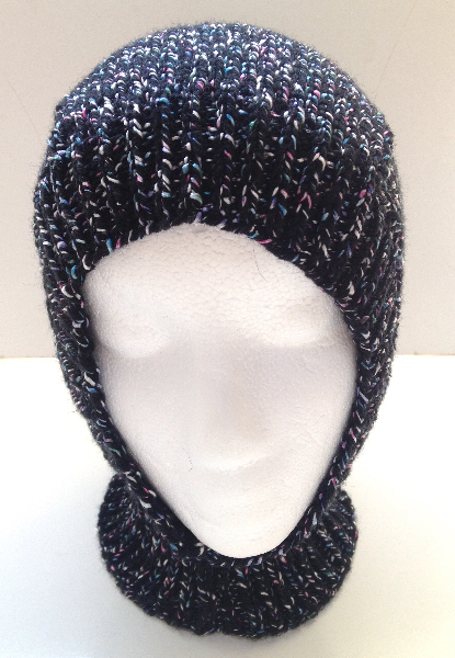 2 to 10 years+ - Black Speckled Acrylic Fitted Balaclava