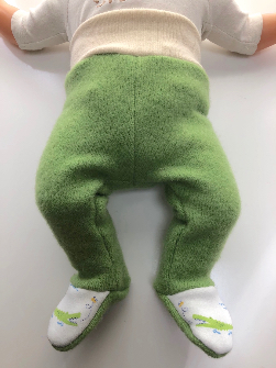 0-3+ months - Alligator Green Upcycled Longies Footies - XS Newborn