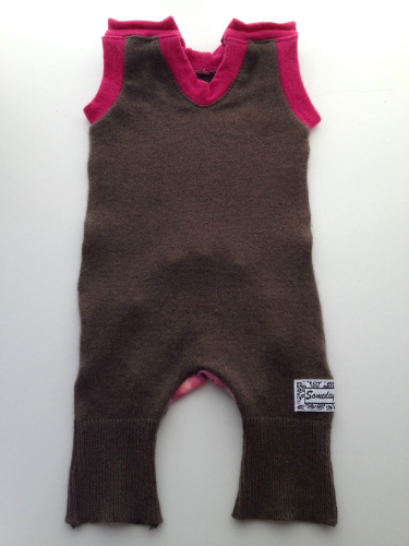 Brown Cashmere and Pink Wool Shorts/ Tank top Rompaloones