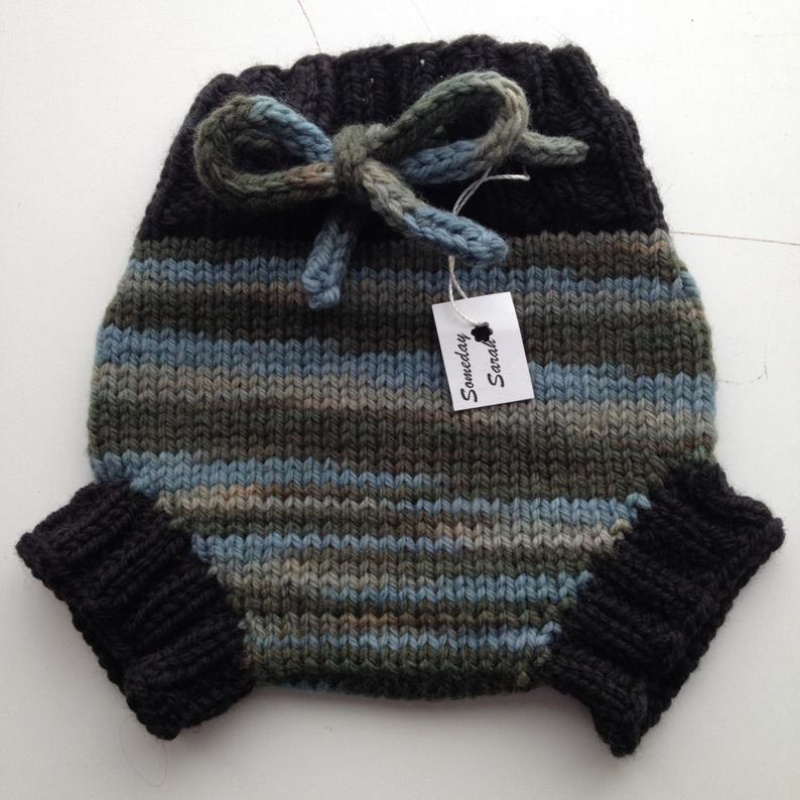 0-3 months - Diaper Cover  Wool - Newborn/Small Baby Handknit Wool Soaker  with Knit Drawstring